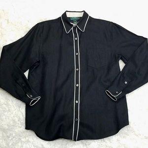 Lauren Ralph Lauren Linen Black Button Up Shirt M